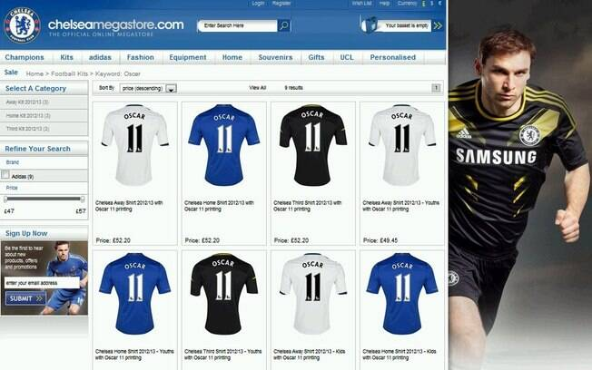 Site do Chelsea vende camisas de Oscar