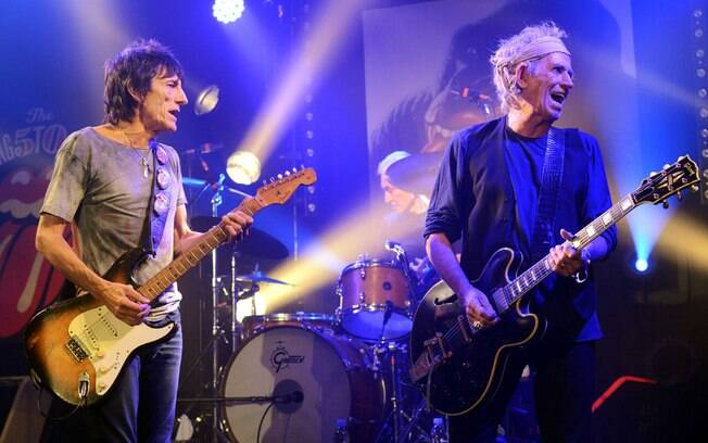 Ron Wood e Keith Richards no show dos Rolling Stones