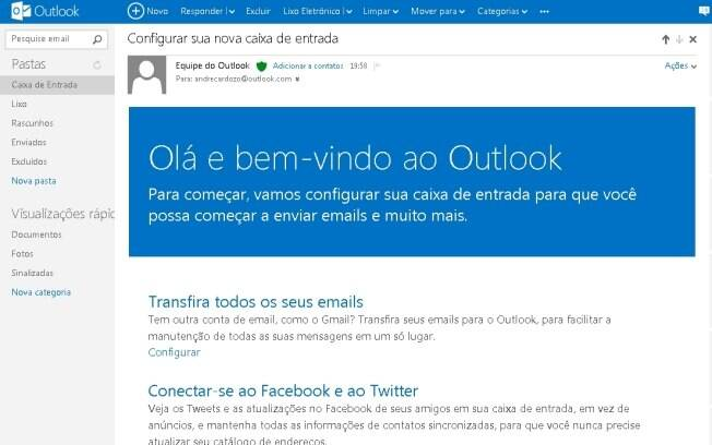Outlook.com tem visual mais limpo do que o Hotmail