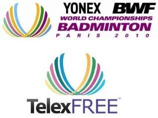Logotipos da Telexfree da Yonex BWF World Championships Paris 2010