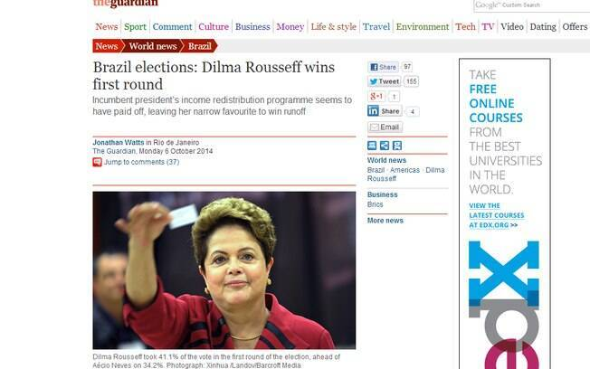 The Guardian: frutos do programa social de Dilma repercutiram nas urnas neste domingo