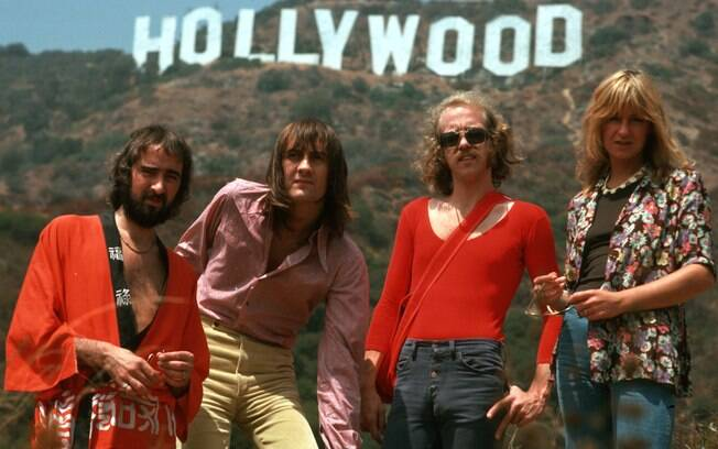 O Fleetwood Mac em 1975: John McVie, Mick Fleetwood, Bob Welch e Christine McVie