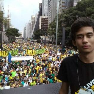 O co-fundador do Movimento Brasil Livre, Kim Kataguiri, no ato do dia 15, na Avenida Paulista