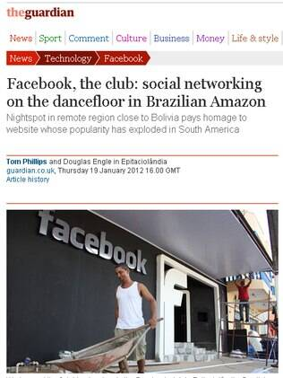 Jornal britânico The Guardian mostra foto da danceteria Facebook, no Acre