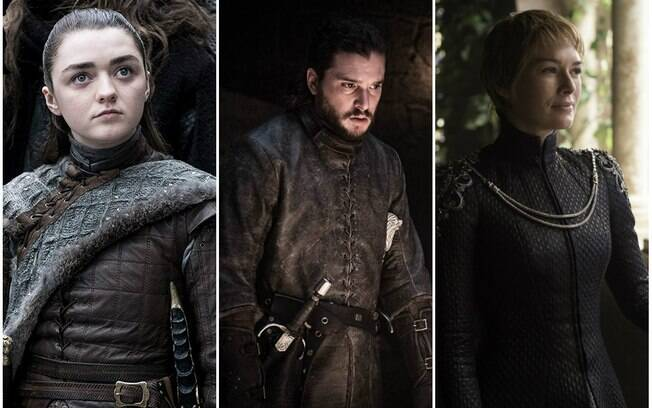 montagem com personagens arya jon e cersei de game of thrones