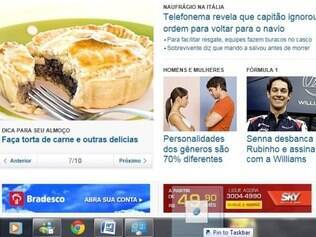Sites viram atalhos na barra do Windows