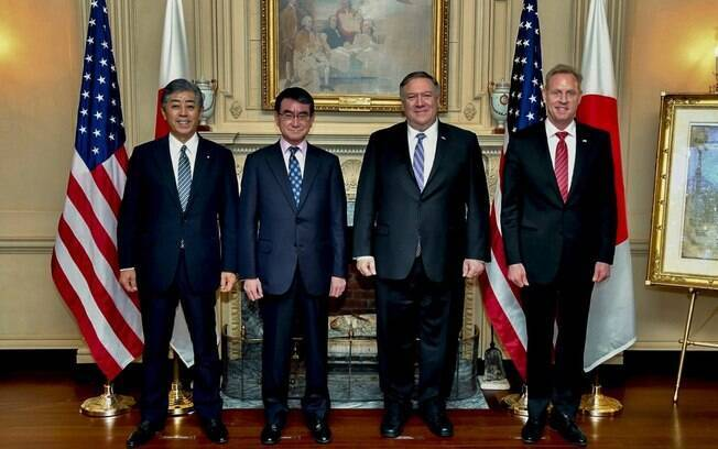 Mike Pompeo e ministros japoneses