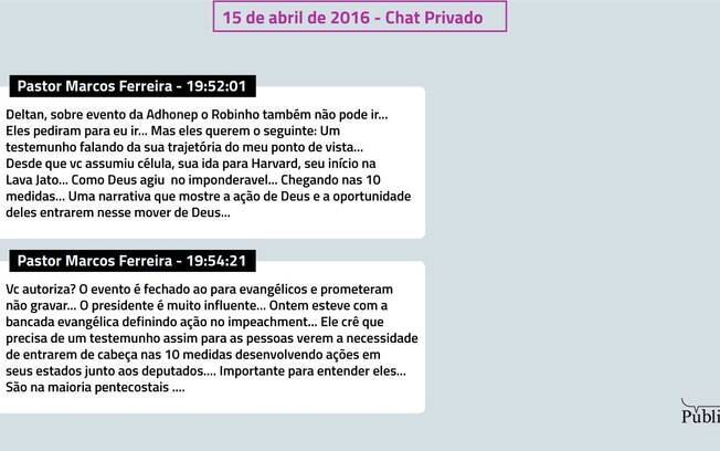 Chat privado entre Dallagnol e o pastor Marcos Ferreira