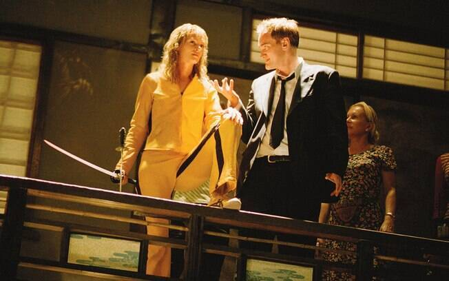 Quentin Tarantino durante as filmagens de Kill Bill