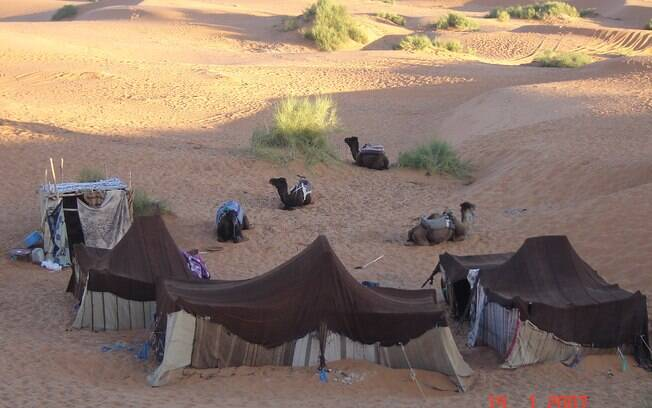 Acampamento no deserto do Saara