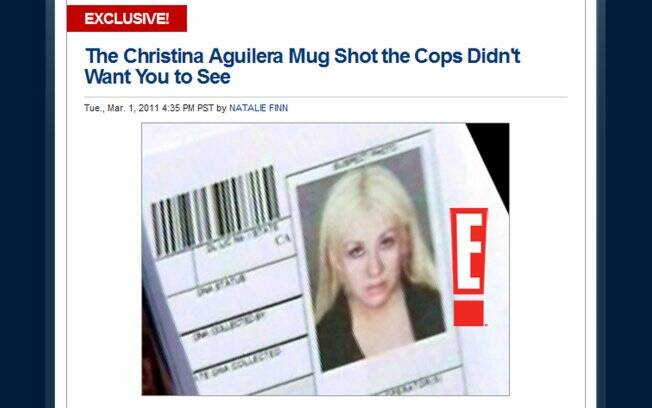 Christina Aguilera no mugshot capturado pelo